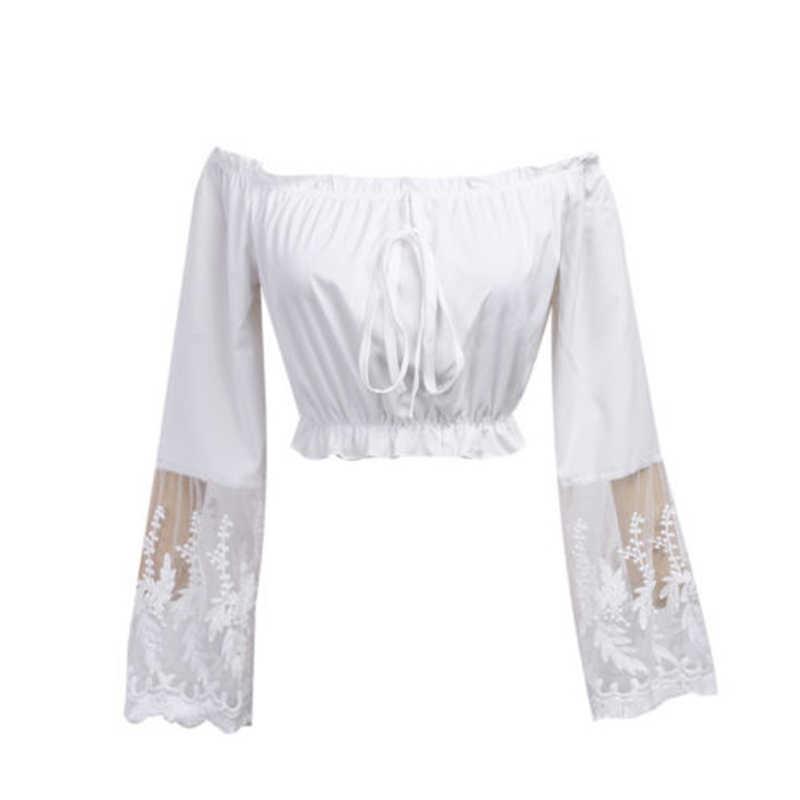 Женские Стильные топы, женская Свободная блуза с длинными рукавами, лето 2019, Пляжная повседневная сексуальная кружевная рубашка с открытыми плечами, Boho Haut Femme