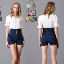 Womens Summer New Extra Large Size High Waist Buckle Jeans Button, Washed Cotton Stretch Shorts