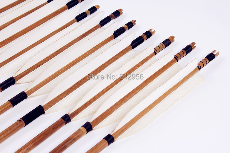 12PK Japan Traditional White Feathers Self Nock Bamboo Arrows For YUMI Bow YMWBT2