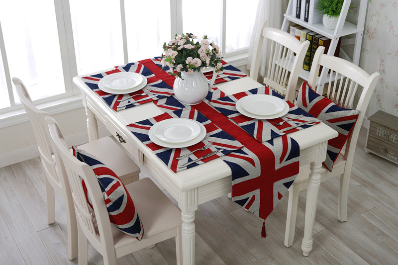 UK Flagge Dekor Tischläufer Garn gefärbt Großbritannien Flagge Tischdecke Teller Matten