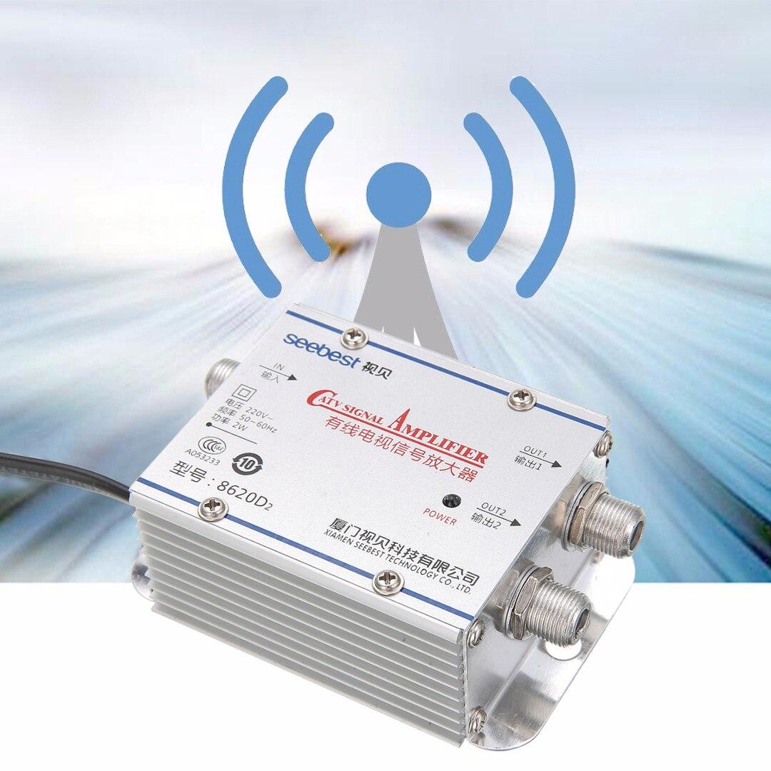Neue Ankunft 1 stück 2Way CATV VCR TV Antenne Signalverstärker 220 V 45-860 MHz Booster Splitter für hause TV Zubehör
