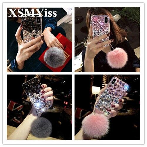 XSMYiss Top Téléphone Cas Pour Samsung S4 S5 S6 S7 bord S8 S9 plus N4 N5 N8 Grand Pierres Perles bling Cristal Doux et Souple Couverture Arrière