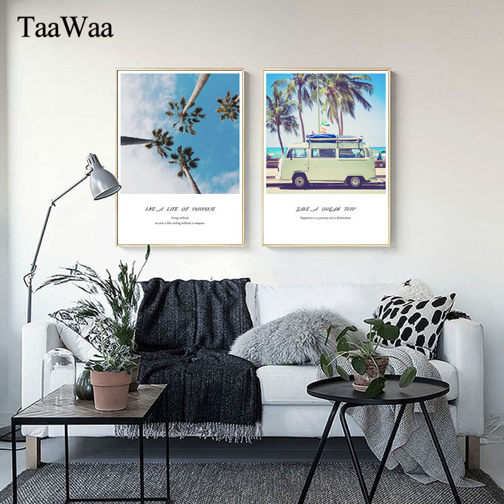 TAAWAA Scandinavian Nordic Style Coconut Tree Seascape Poster Quote Wall Art Canvas Painting Car Decorative Picture Home Decor in Painting Calligraphy from Home Garden