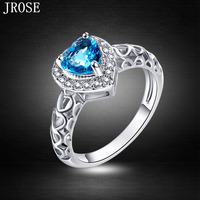 JROSE Wholesale Heart Of Ocean Engagement Blue White Topaz Fashion Jewelry 18K White Gold Plated Ring Size 6 7 8 910 11 12 13