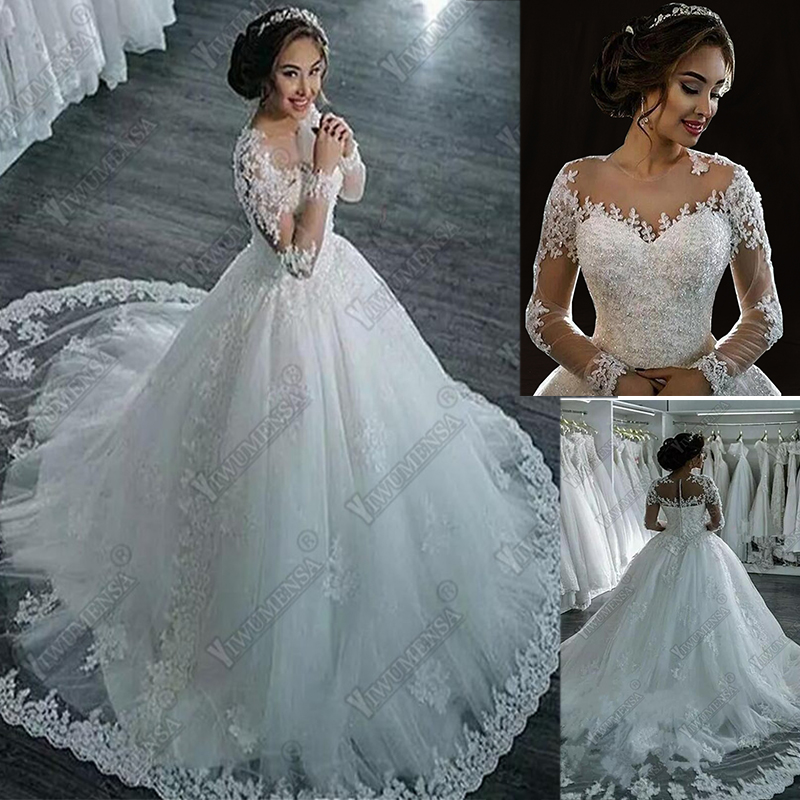 Robe De Mariee Princess Ball Gown Wedding Dress Custom Made Plus Size Lace Bridal Gowns Dubai Africa Wedding Dresses Novias