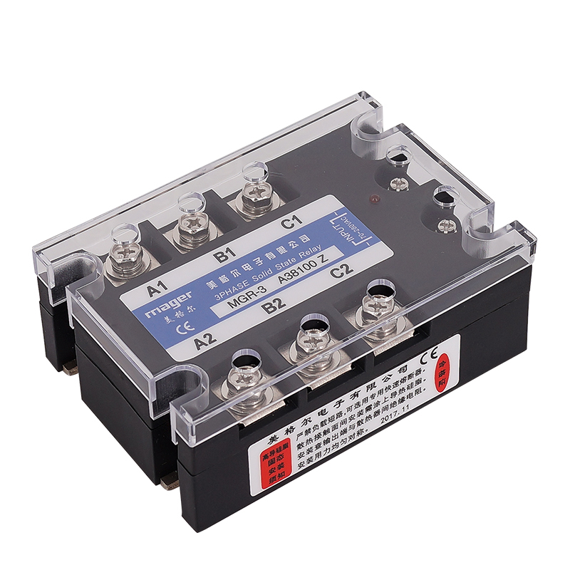 100A three phase Solid state relay (MGR-3 A48100 Z) SSR AC control AC 70-280VAC To 480VAC Free shipping With protective covers100A three phase Solid state relay (MGR-3 A48100 Z) SSR AC control AC 70-280VAC To 480VAC Free shipping With protective covers