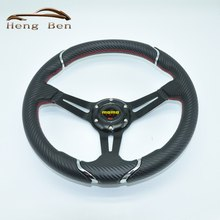 HB 2016 New Style Nard Carbon Fiber Yellow Stitch Steering Wheel For Racing Car 350MM fashion personality steering wheel