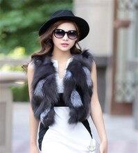 True Hot Fashion Fur Coat Women Pieces Natural Silver Fox Fur Vest coats Short Style Gilrs Spell real Fox Fur Vest Fox Fur Vest