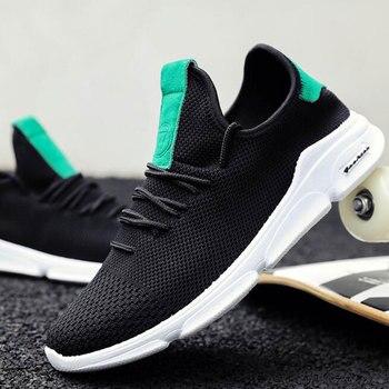 Для мужчин обувь 2018 летняя дышащая сетка ультра-легкие кроссовки на шнуровке Осень Человек комфорт обувь модные вулканическая обувь M641