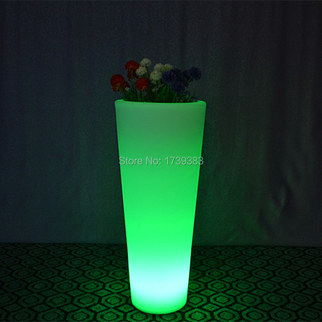 Waterproof Wireless recharge remote control Multi color LED Luminous flower pot of illuminated furniture,glowing led plant pot