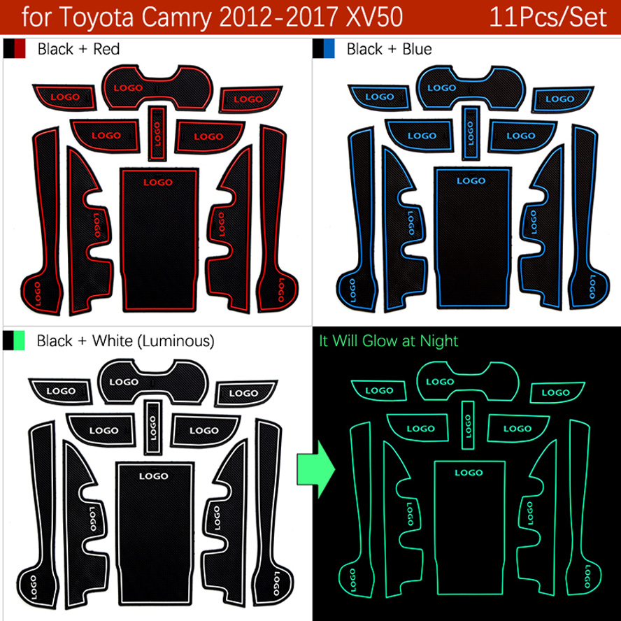 Image 2 - Anti Dirty Pad For Toyota Camry 2012 2017 7 Gen XV50 Altis Aurion 50 MK7 Door Groove Gate Slot Coaster Anti Slip Mat-in Anti-Slip Mat from Automobiles & Motorcycles