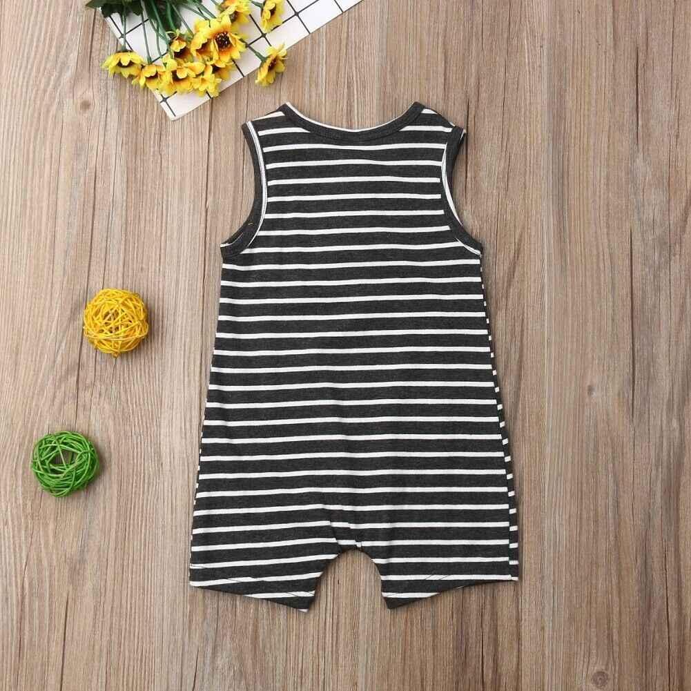 2019 letnie ubrania dla dzieci 0-24 noworodka Baby Boy dziewczyna paski Romper ubrania bez rękawów w paski strój na lato kombinezon