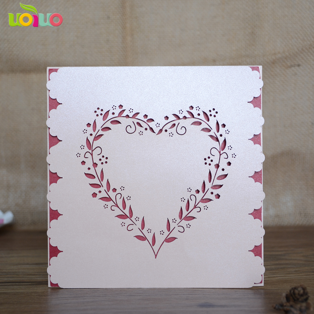 White elegant romantic laser cut heart shape invitation cards ...