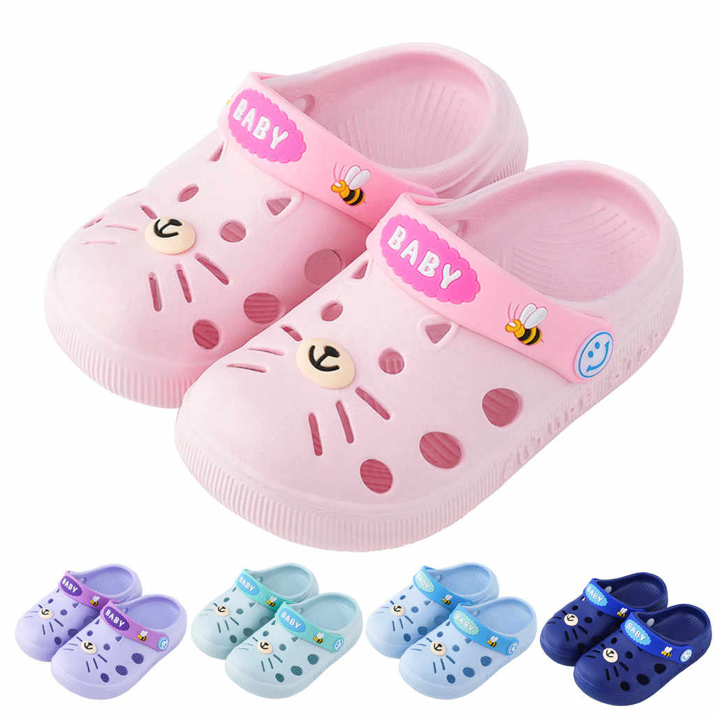 Toddler Kids Baby Boys Girls Sandals Summer Beach Shoes Home Slippers Cartoon Cat Floor Baby Shoes Breathable Sandals children