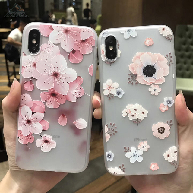quality design 2469d 30d3c US $2.47 27% OFF|Lizardhill Fashion Peach blossom Relief soft TPU Phone  cases for iphone X case For Apple iphone 6 6s 7 8 plus fundas coque capa-in  ...