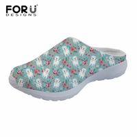 FORUDESIGNS Dog Flowers Women Slippers Indoor Home Floor Cartoon Slippers Summer Beach Mesh Shoes Ladies Sandals For Bedroom