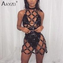 AKYZO Women Body Harness PU Leather Black Dress Punk Adjustable Garter Belt Hollow Out Weaved Belt Backless Dress 2 Piece Set