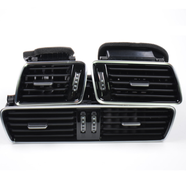Qty 3 OEM Black Piano Paint Chrome Car Center Console Air Condition Vents For VW Passat B6 B7 CC R36 3AD 819 701 A 3AD 819 702 A