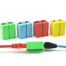 5PCS RJ45 KAT 5 5E 6 6a Extender Plug Network Connector Netwerk Ethernet Dual Rechte Hoofd Lan Kabel joiner Coupler(China)