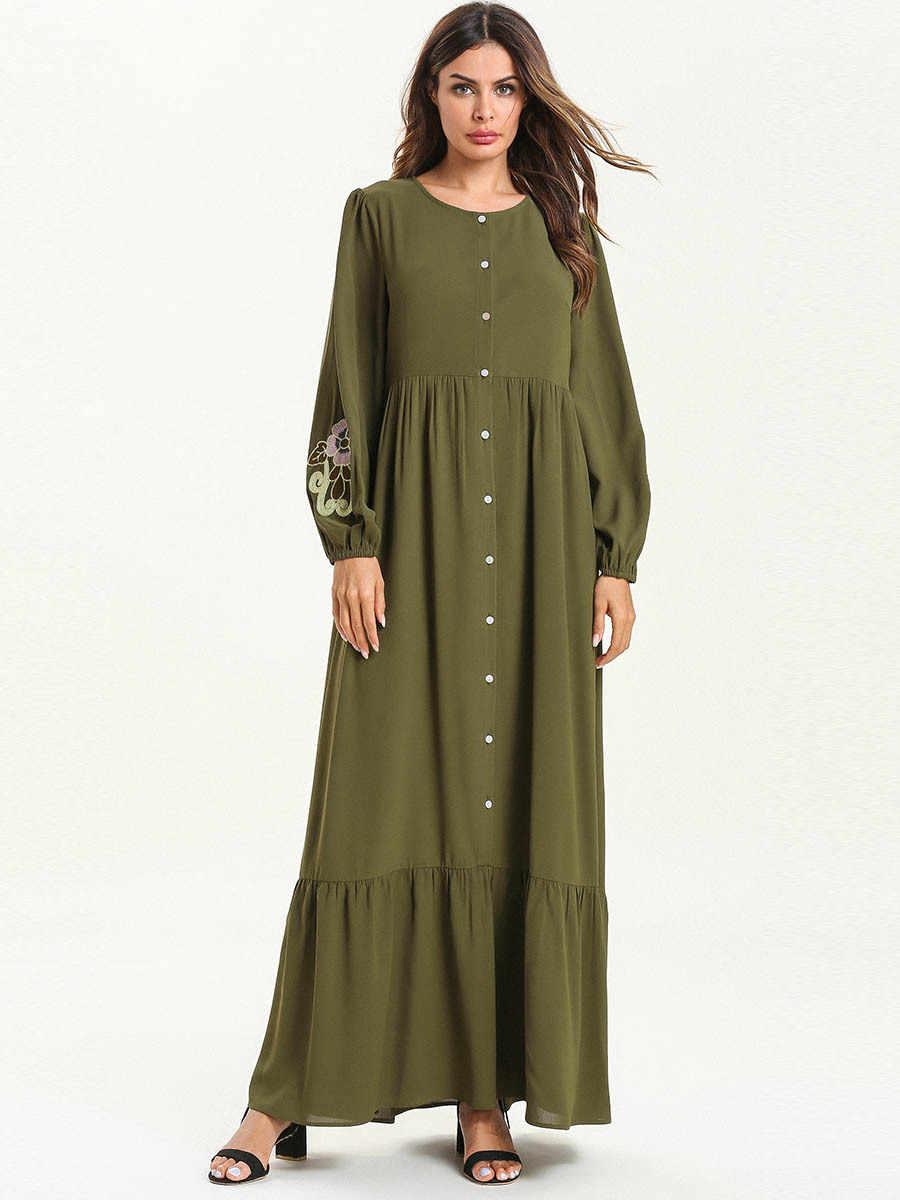 Женское платье abaya, Турция, Дубаи, зеленое мусульманское платье на пуговицах, платья с вышивкой, кафтан, Турецкая мусульманская одежда, большие размеры, халат из бангладеш