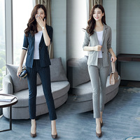 2018 Business Women Pencil Pant Suits 2 Piece Sets Striped Blazer + Pencil Pant Office Lady Notched Jacket Female Outfits