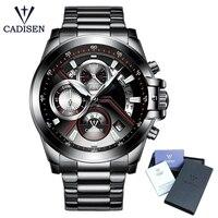 CADISEN Hot Mens Watches New Fashion Army Brand Luxury Sports Casual Waterproof Mens Watch Quartz Stainless Steel Man Wristwatch