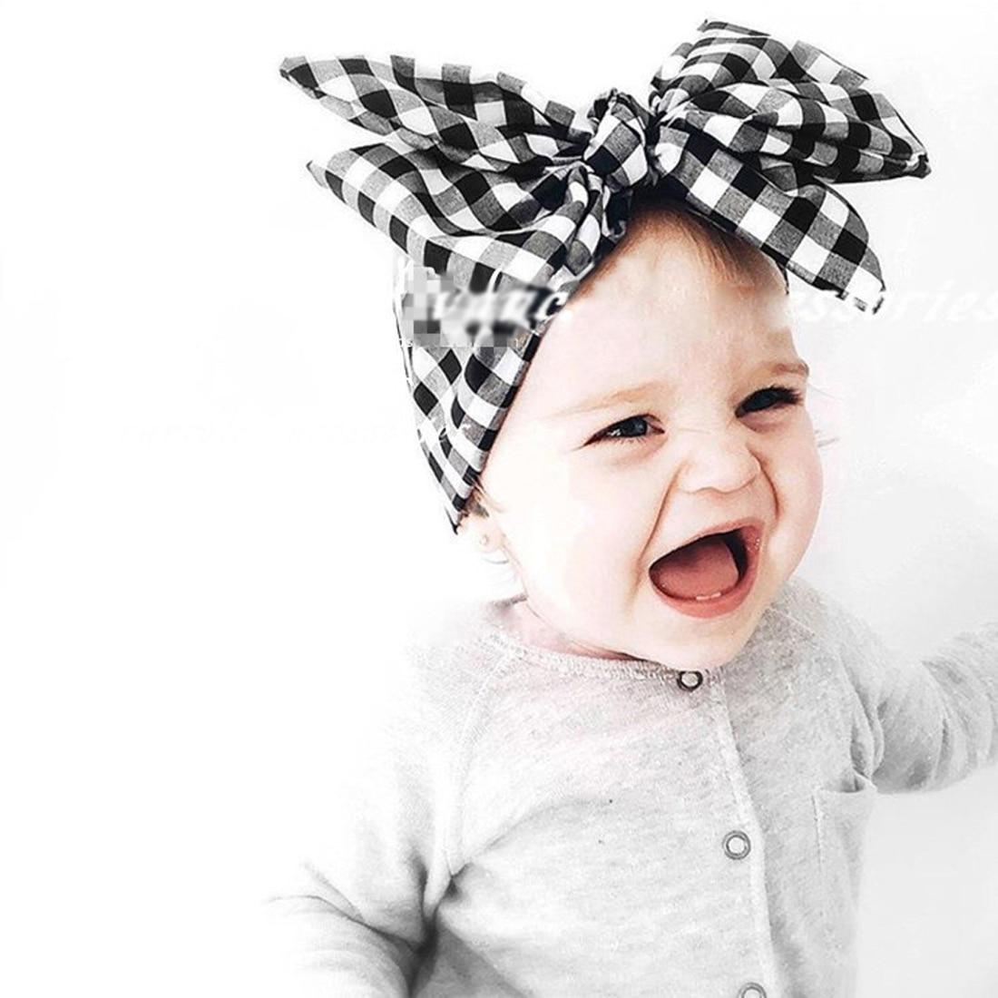 2017 Boys Girls Headbands Newborn Red Black Pink lattice Butterfly Bowknot Hairband Turban Headwear Cute Plaid Headdress 1PC