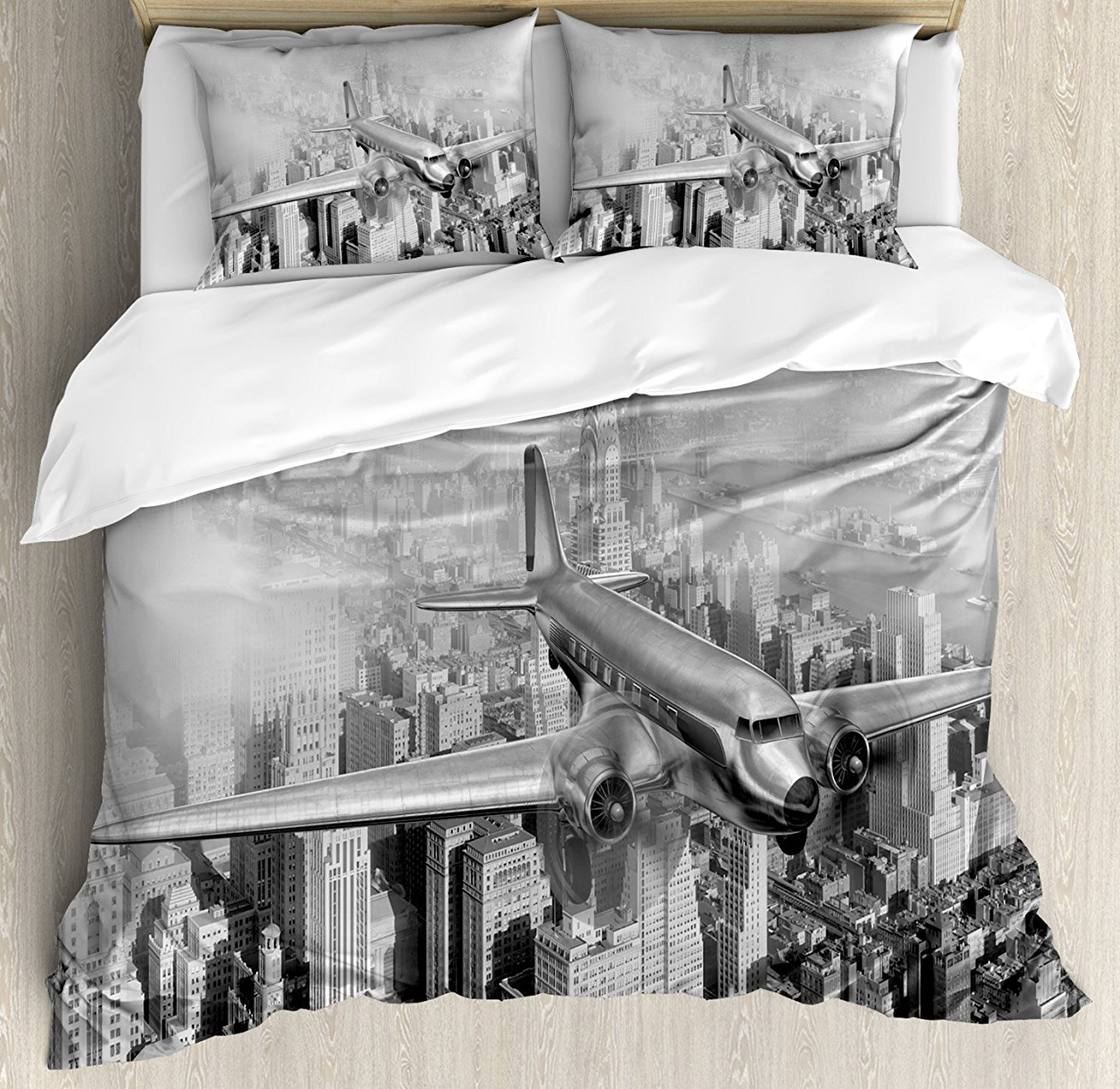 Vintage Duvet Cover Set, Nostalgic Dated Plane Flying over Skyscrapers in New York City Urban Life, 4 Piece Bedding Set