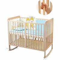 Wood Baby Crib with18mm Round Bar, Multi Functional Baby Bed can Change to Rocking Cradle, Natural Pine Kids Crib with Wheels