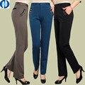 Makuluya PANT LIVRE dom 2016 MELHOR tecido mulheres calças alta elástica calças de cintura alta em linha reta calças formais calças senhora