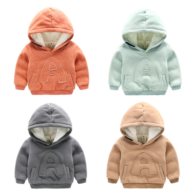 children's sweatshirt for boys baby long-sleeve double layer winter top outerwear