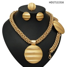 YULAILI Free Shipping Big Africa Costume Jewelry Sets Gold Color Chain Jewellery With Big Pendant