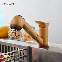 GIZERO Бесплатная доставка Новое Прибытие Поворотный Гибкая Кухня Pull Out Опрыскиватель Кран Краска Кран Латунный Мойки Смесители GI2060