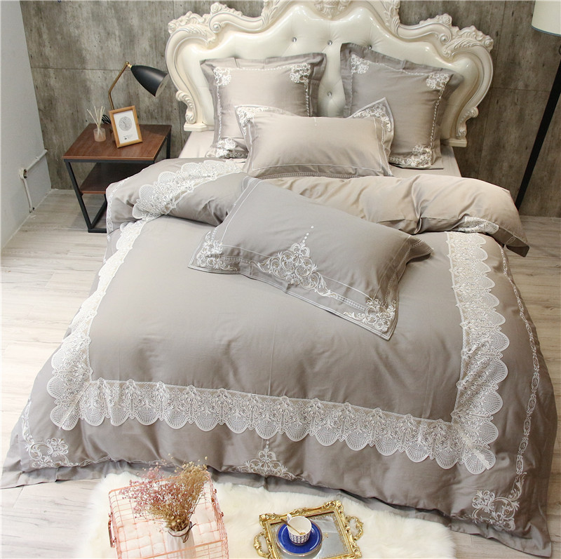 Embroidery Egyptian Cotton Grey color Luxury Bedding Sets Queen King Size bed set Bedlinen sheets Duvet Cover set PillowcaseEmbroidery Egyptian Cotton Grey color Luxury Bedding Sets Queen King Size bed set Bedlinen sheets Duvet Cover set Pillowcase