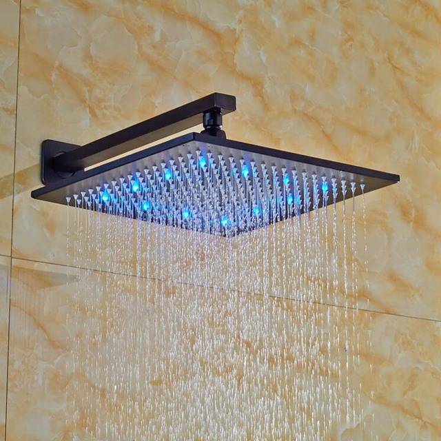 LED Color Change Square Rainfall Shower Head Oil Rubbed Bronze Wall ...