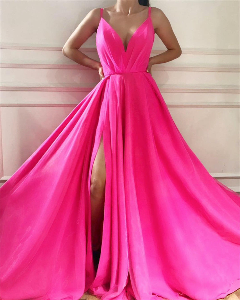 Custom Made Fuchsia Satin Simple Maid Of Honor   Dresses   High Split Spaghetti Strap A Line Long   Bridesmaid     Dress   2019 New Arrival