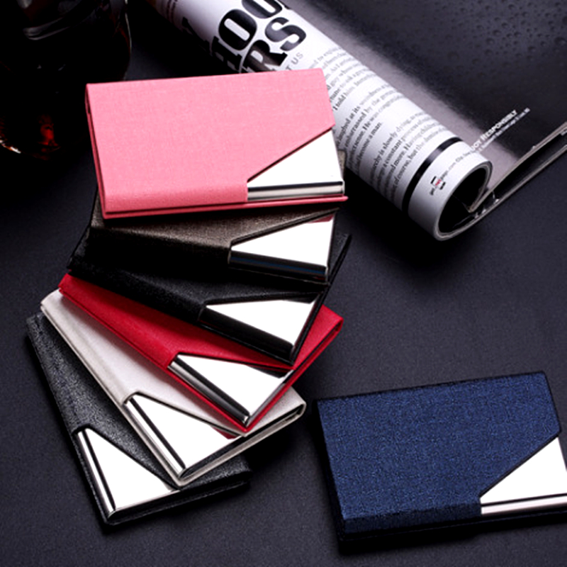 QOONG Rfid Travel Card Wallet Leather Mannen Vrouwen Waterproof Credit ID Kaarthouder Card Case Metalen Portemonnee Kaarthouder Carteira