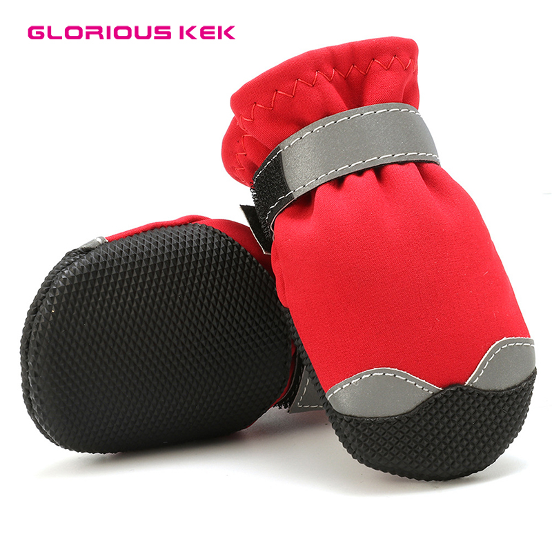 Warm Lining Non-Slip Rubber Sole for Snow Winter GLE 2016 Dog Boots Waterproof Dog Shoes Snow Shoes with Reflective Rugged Anti-Slip Sole XS, Red 2 Pairs