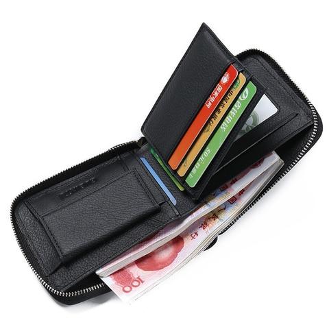 New Genuine Leather Men Wallet Luxury Brand Wallets Short Zipper Male Wallet Money Purses Cowhide Leather Card Holder Wallet Pakistan