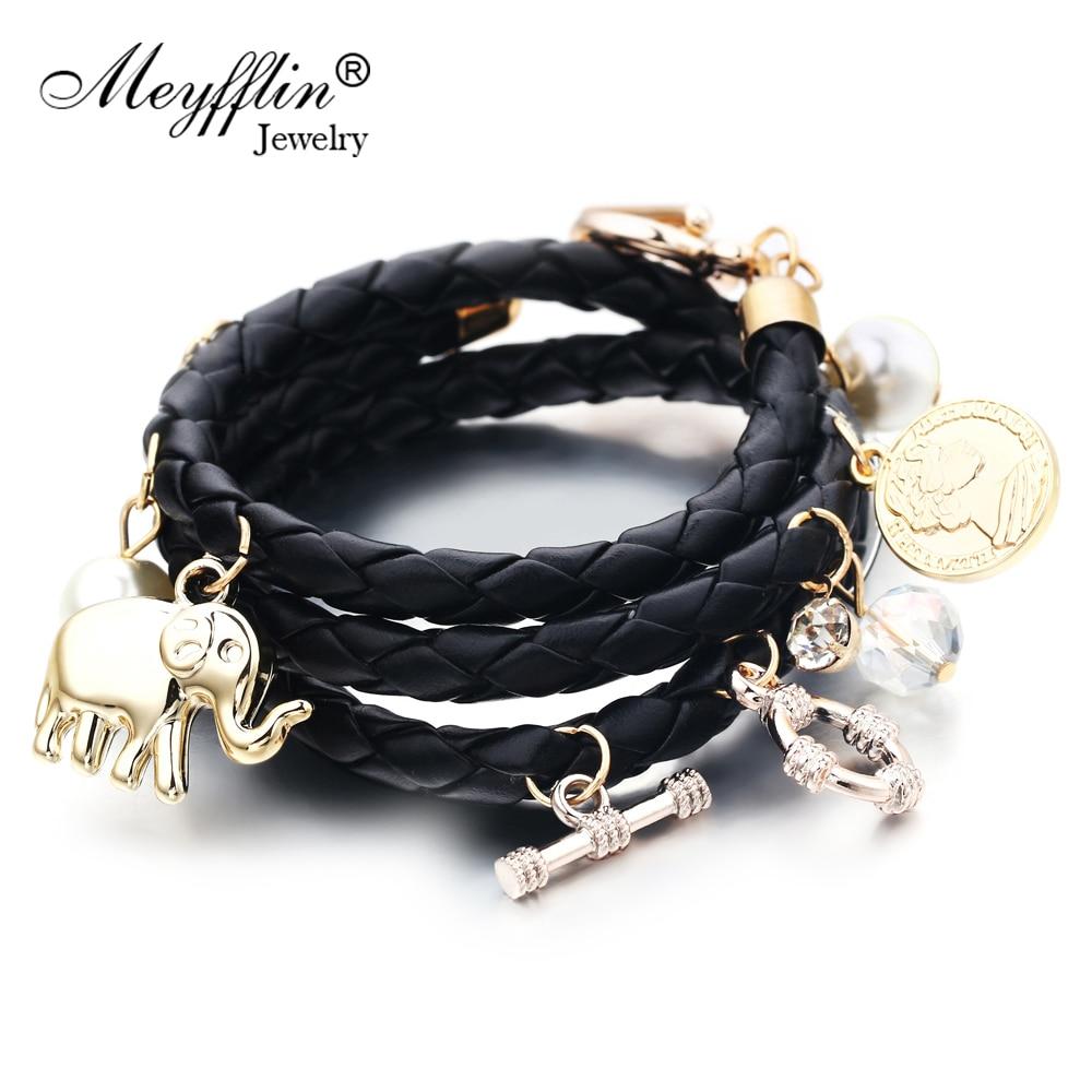Armbanden voor vrouwen Bedelarmbanden en armbanden PU Leer Heren Sieraden Bijoux Olifant Pulseira Feminina Pulsera Mujer Femme