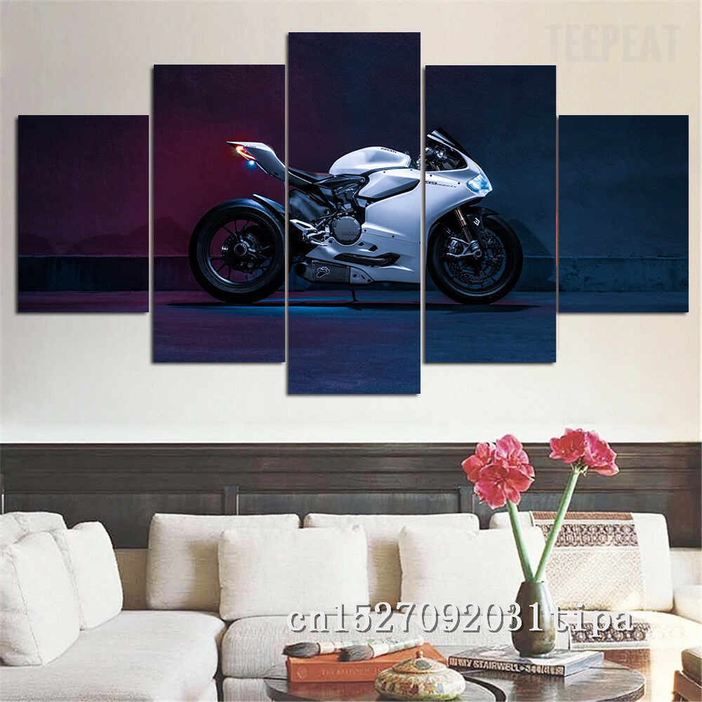 Ducati 5 Panel Abstract Wall Art Oil Painting Poster Canvas Painting Print Pictures for Living Room Home Decor