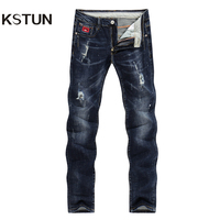 KSTUN Jeans Men Spring and Autumn Ripped Distressed Straight Slim Painted Printed Stretch Biker Jeans Dark Blue Male Trousers 38