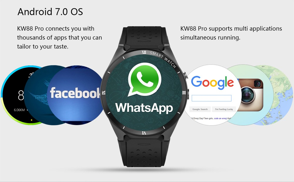 7Montre intelligente 3G Android 7.0 Smartwatch Bluetooth pour homme