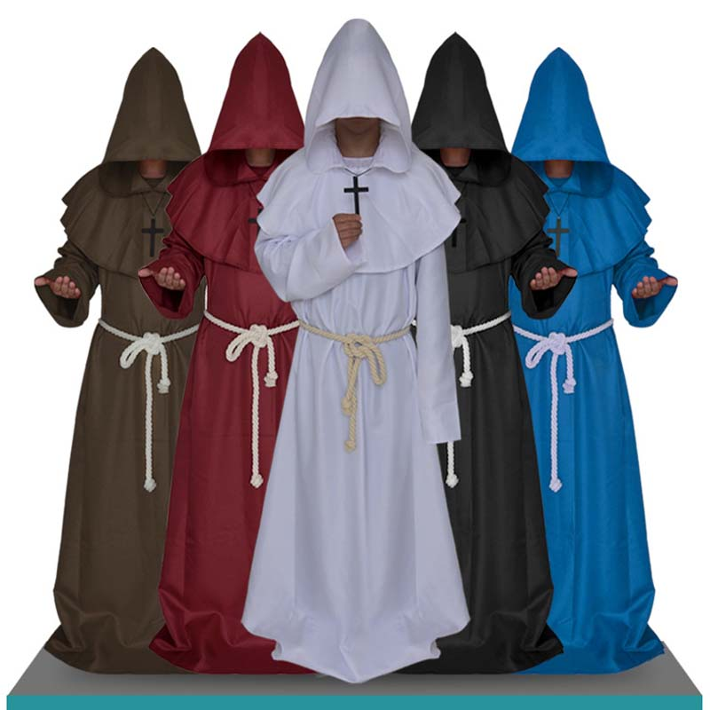 2018 New 1pc Medieval Costume Men Women Vintage Renaissance Monk Cosplay Cowl Friar Priest Hooded Robe Rope Cloak Cape Clothing