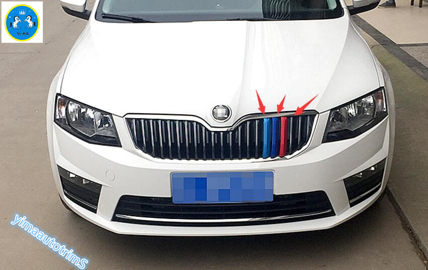Colorfully ! For Skoda Octavia MK3 A7 2015 2016 2017 2018 ABS Front Grill Grille Lid Molding Cover Trim 3 Pcs