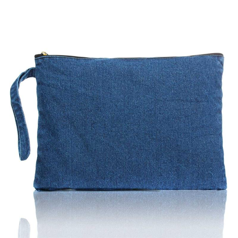 New 2017 Women Canvas Clutch Bag Blue Denim S Clutches Bolsa Feminina Wristlets Lady Casual Handbag Wallets Free Shipping In From Luggage