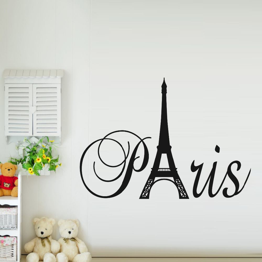 Paris Art Eiffel Tower Removable Vinyl Wall Stickers Decals Quote Living  Room Bedroom Background Home Decor Free Shipping In Wall Stickers From Home  ...