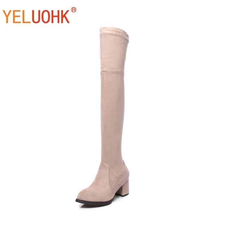 Women High Boots Plush Warm Over The Knee Boots Women Winter Boots High Heel