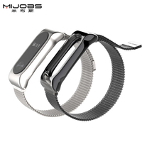 Mijobs Magnetic Metal Strap For Xiaomi Mi Band 2 Magnetic Buckle Screwless Stainless Steel Wristband Accessories