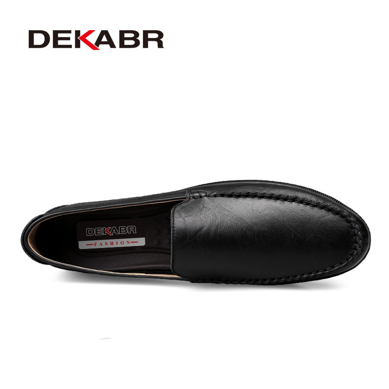 Image 2 - DEKABR Italian Mens Shoes Casual Luxury Brand Summer Men Loafers Split Leather Moccasins Comfy Breathable Slip On Boat Shoes-in Men's Casual Shoes from Shoes